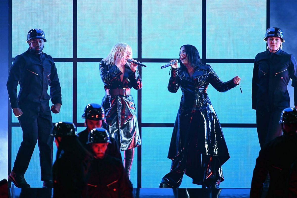 Christina Aguilera (left) and Demi Lovato perform during the 2018 Billboard Music Awards, on May 20, 2018.