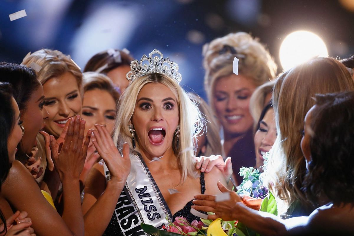 Miss Nebraska Sarah Rose Summers celebrates after winning the 2018 Miss USA Competition at Hirsch Coliseum on May 21, 2018 in Shreveport, Louisiana, U.S.