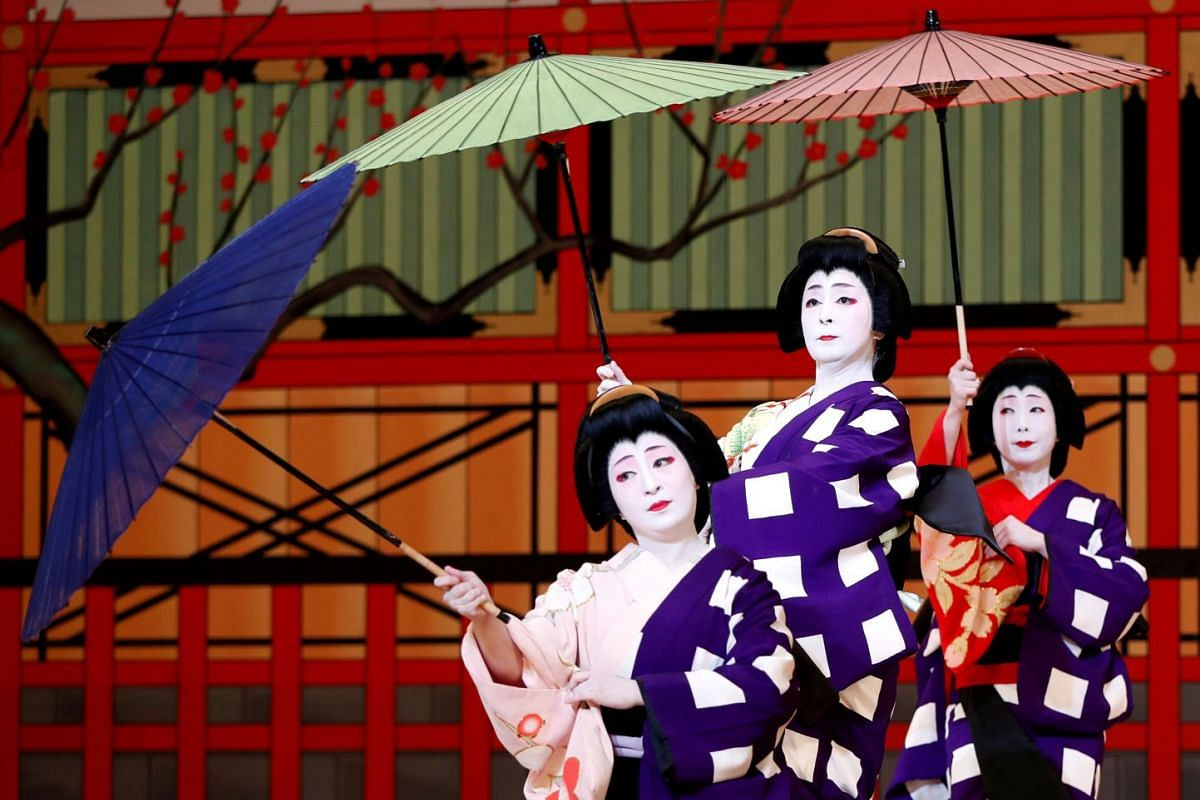 Geishas, traditional Japanese female entertainers, perform their dance during a press preview of the annual Azuma Odori Dance Festival at the Shinbashi Enbujo Theater in Tokyo, Japan, May 23, 2018.