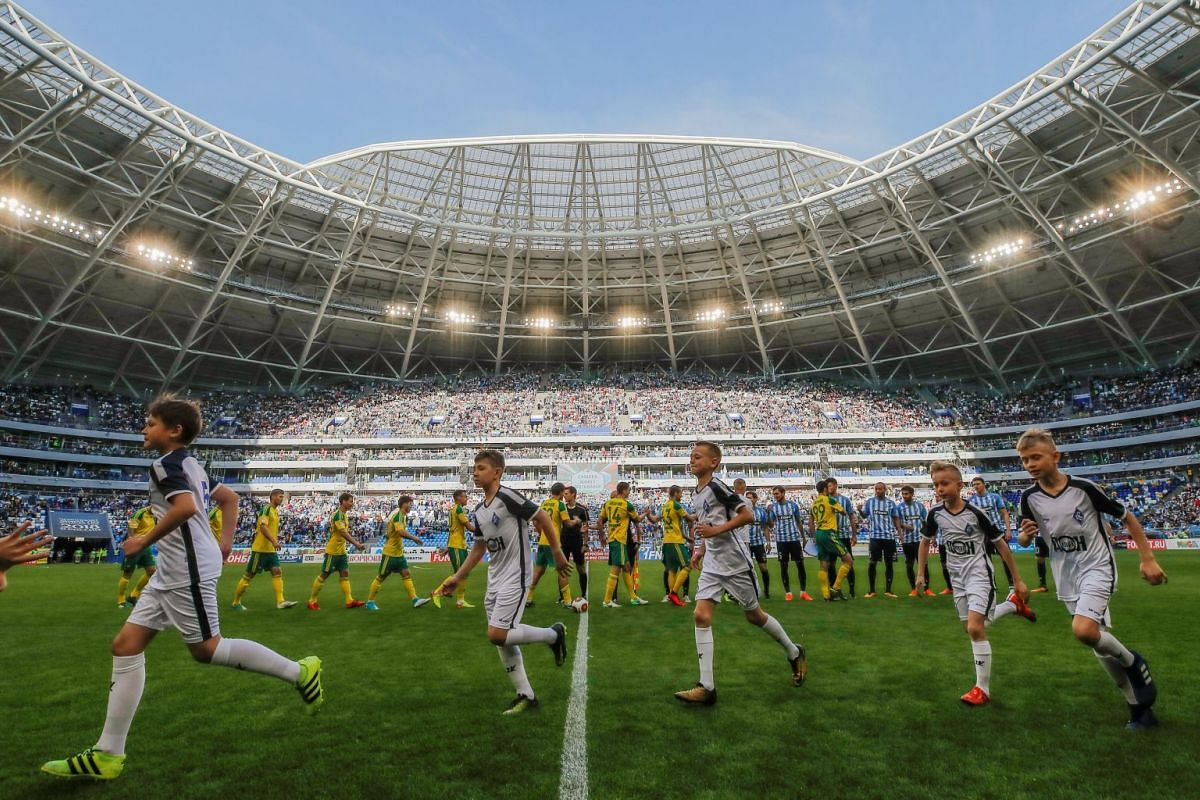 A general view of the 45,000-seater Samara Arena before a football match on May 6, 2018.