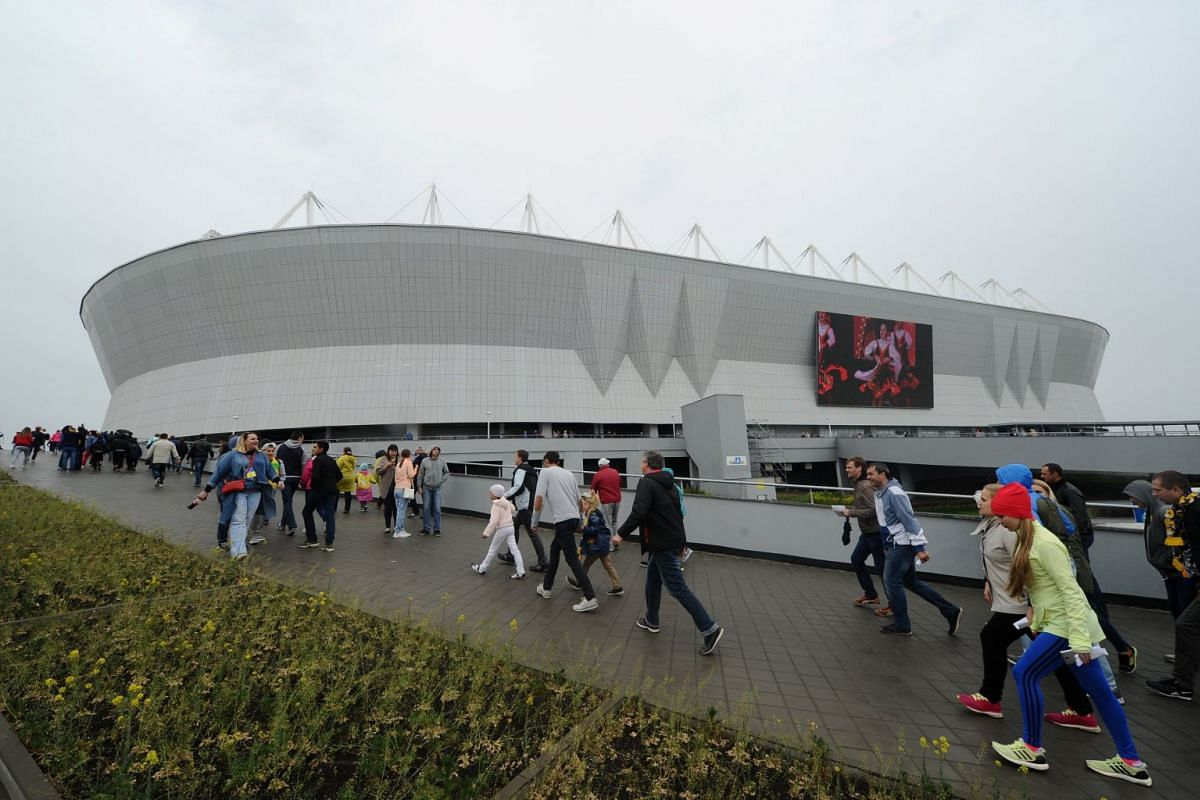 Fans making their way to the Rostov Arena before a match on May 13, 2018. The arena has a seating capacity of 45,000.
