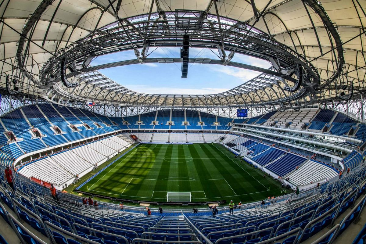 The pitch and stands of the 45,000-seater Volgograd Arena in Volgograd, Russia, on May 9, 2018.