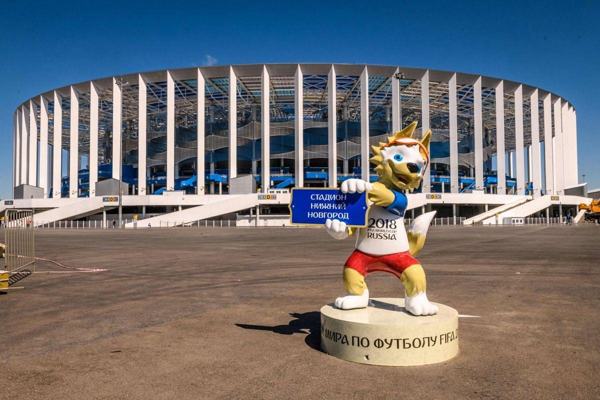 World Cup 2018's mascot Zabivaka in front of the 45,000-seater Nizhny Novgorod Arena in Nizhny Novgorod, Russia, on May 21, 2018.