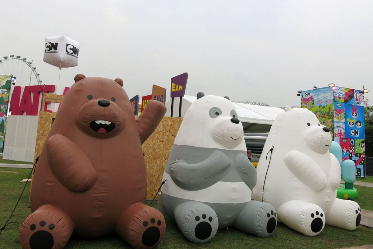 Giant inflatable cartoon characters from We Bare Bears at the Cartoon Network Animate Your Life event.