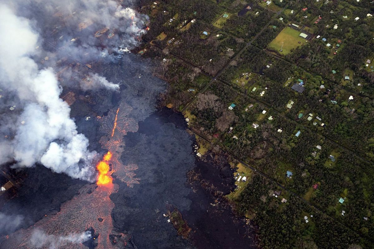 A noticeable increase in volume of lava being produced by this eruption on Kilauea's lower east rift zone, has huge rivers of lava snaking its way toward the sea, and a massive flow headed toward the Puna Geothermal Venture facility (lower left corne