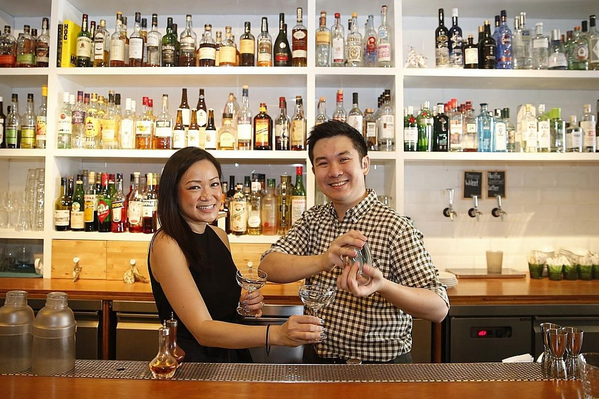 Ms Gan Guoyi and Mr Indra Kantono at their Humpback seafood restaurant, which was inspired by visits to oyster farms in Seattle during their honeymoon.