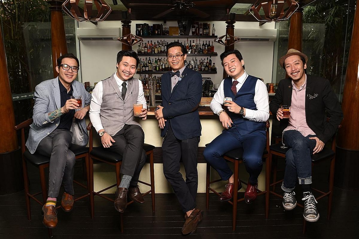 (From far left) Mona Lounge's Sam Wong, Amrith's Edwin Poh, BarSmiths Hospitality's Mark Tay, Ah Sam Cold Drink Stall's Ong Jun Han and The Wall's Jeremie Tan are part of a series of guest shifts under the banner of Band Of Brothers For Good, held du