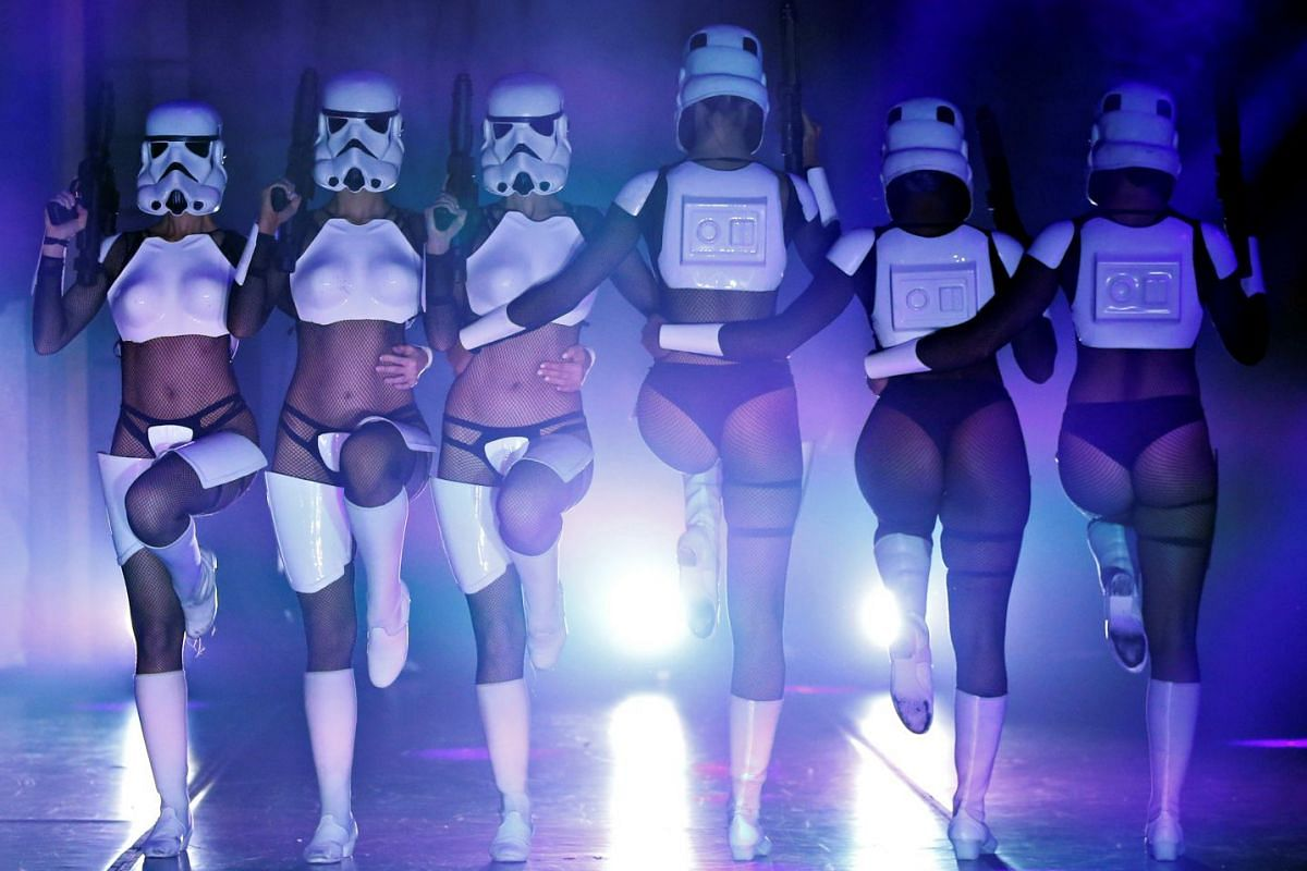 "Performers dressed like Stormtroopers dance during ""The Empire Strips Back: A Star Wars Burlesque Parody"" in Los Angeles, California, U.S., June 1, 2018. PHOTO: REUTERS"