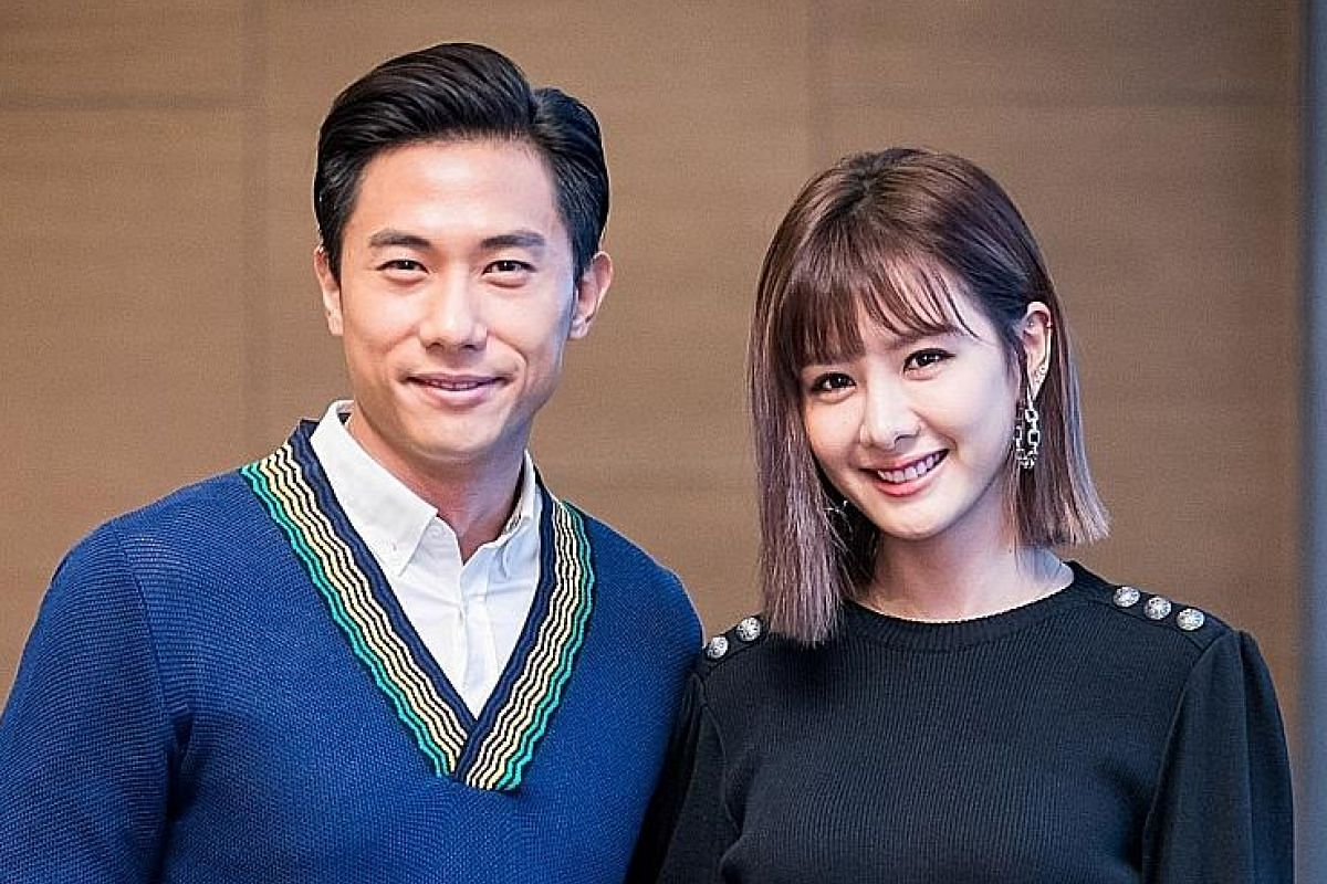 Desmond Tan when he was five years old (left) and with Taiwanese actress Amber An at the press conference for their movie The Big Day last year (right).