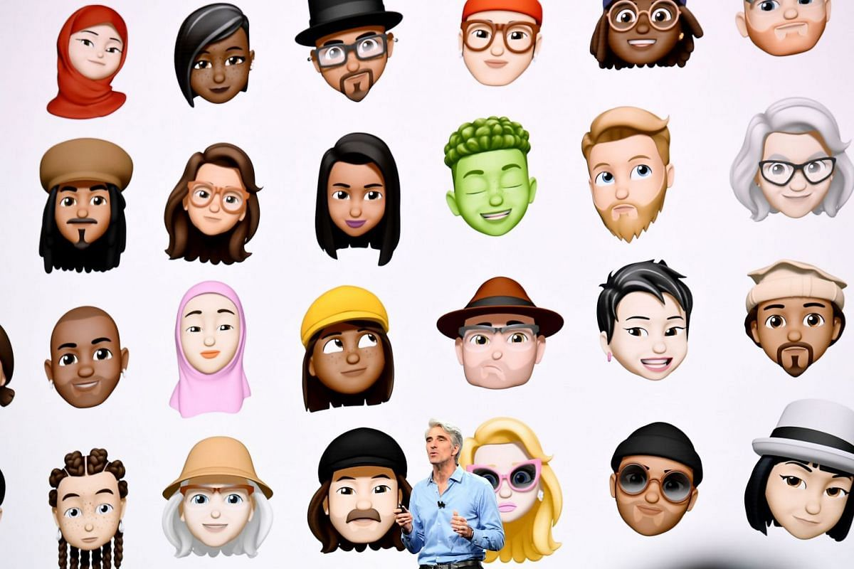 Craig Federighi, senior vice president of software engineering at Apple Inc., speaks during the Apple Worldwide Developers Conference (WWDC) in San Jose, California, U.S., on Monday, June 4, 2018.  Behind him is a sampling of new Memoji avatars. PHOT