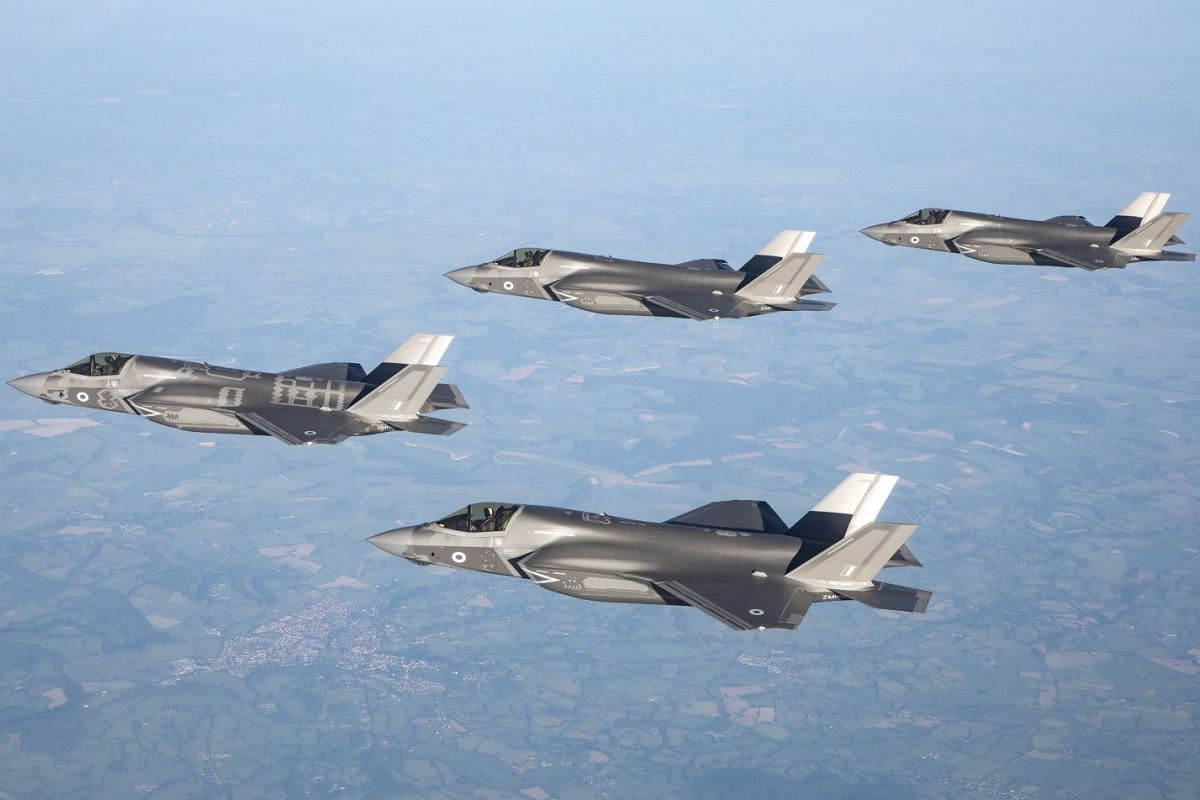 A handout photo made available by the British Ministry of Defence (MOD) shows the first of Britain's next-generation fighter jets, the UK RAF F-35B Lightning II aircrafts flying over Britain,  June 6, 2018.  PHOTO: MOD VIA EPA-EFE