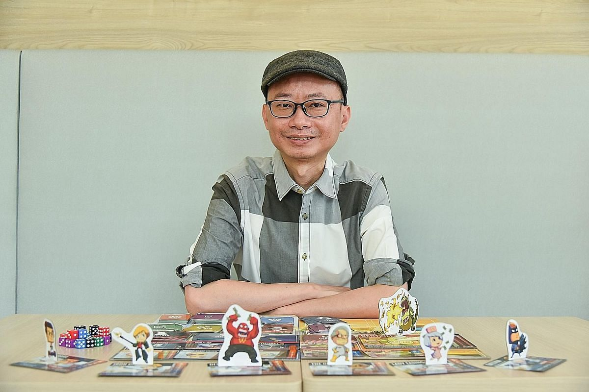 Overbooked (above) by lecturer Daryl Chow draws inspiration from the incident where Dr David Dao was dragged off a United Airlines flight last year, while Capital Gains Studio founder Xeo Lye's (right) board game Debtzilla teaches players about finan