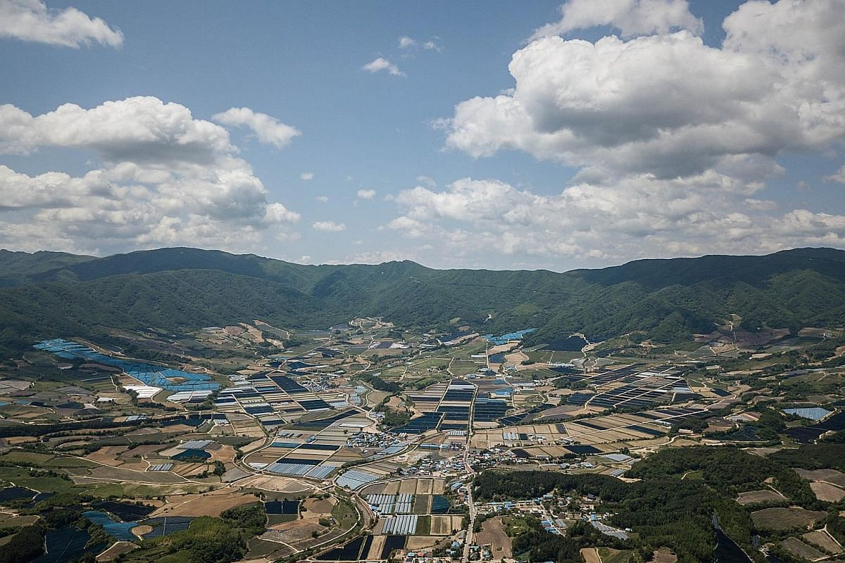An aerial view of Haean-myeon, where the 1951 ''Battle of the Punchbowl'' took place during the Korean War, near the Demilitarised Zone (DMZ).