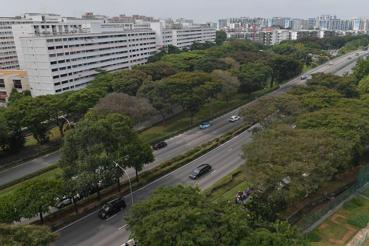 An aerial view of Mr Kim's motorcade travelling along the Pan Island Expressway.