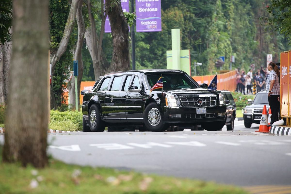 US President Donald Trump's vehicle, nicknamed The Beast, enters Capella Singapore.