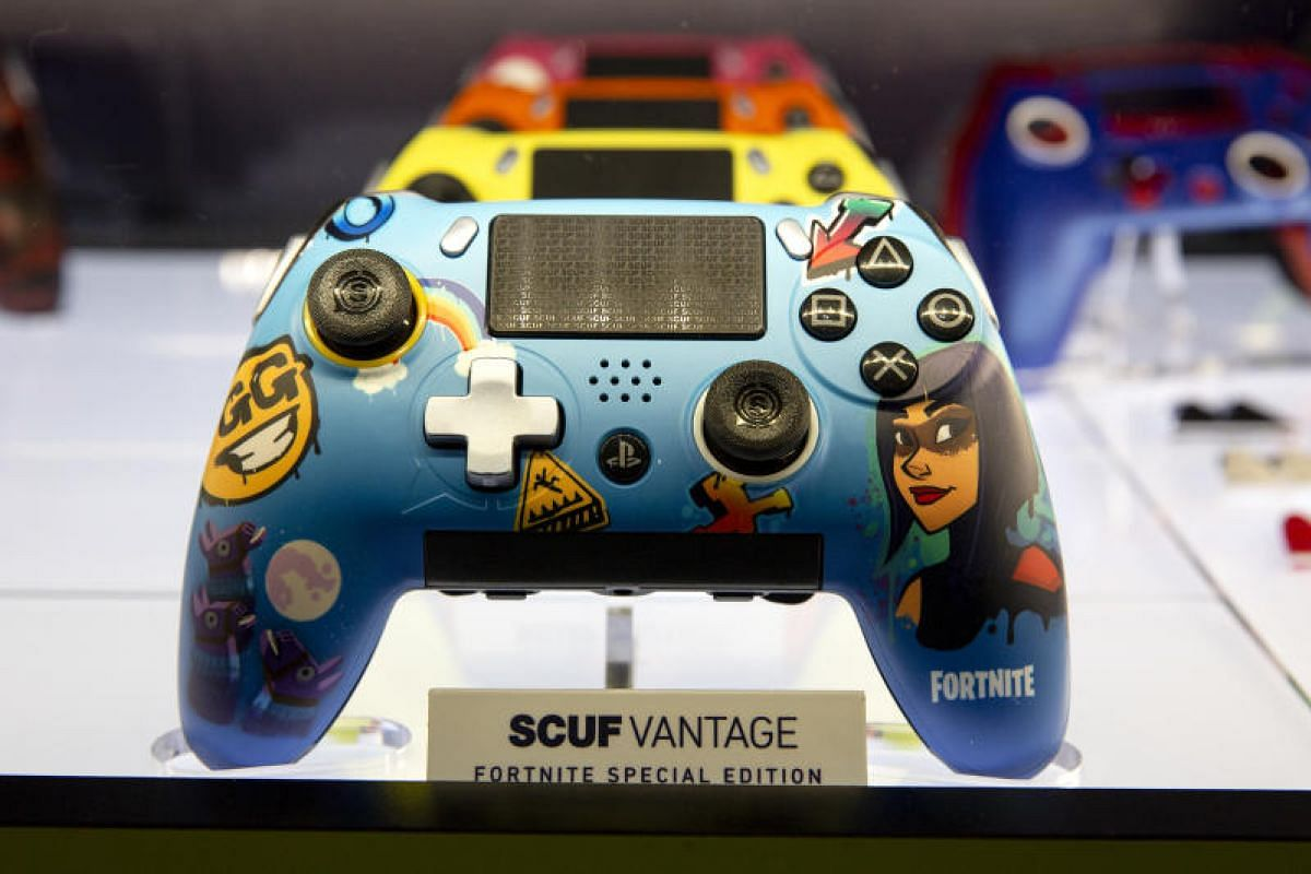 A Battle Royale video game-themed custom controller sits at the Scuf Gaming booth at E3.