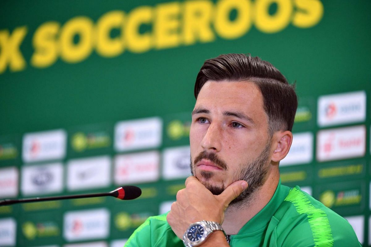 Australian forward Mathew Leckie, who plays for German side Hertha Berlin, speaking to the media on June 12, 2018.