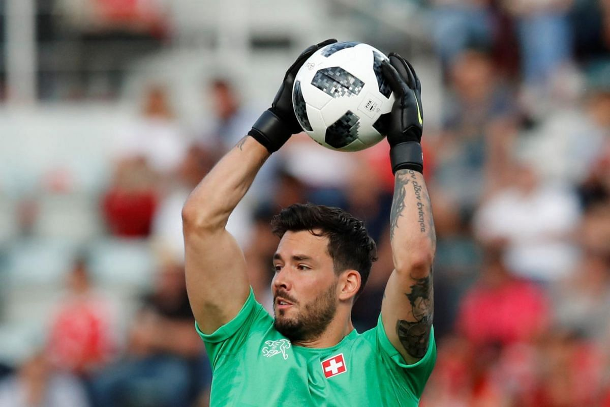 Swiss goalkeeper Roman Burki in action during an international friendly against Japan on June 8, 2018.