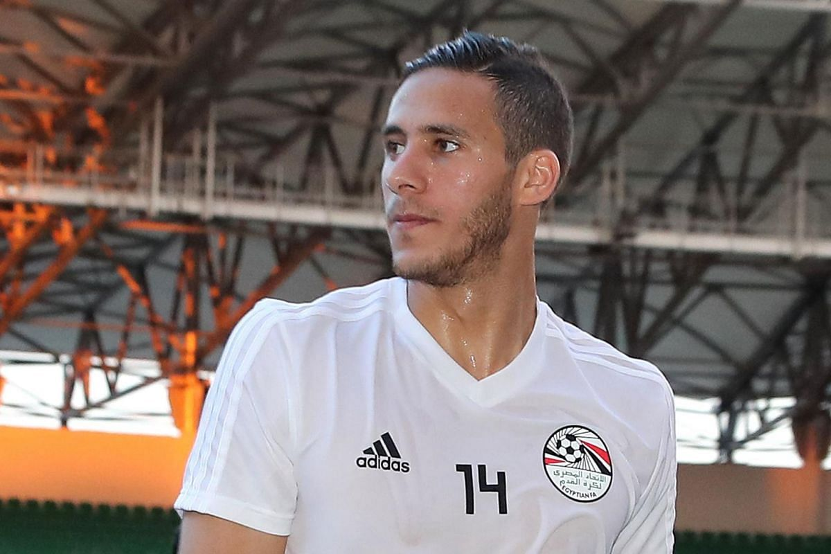 Egyptian winger Ramadan Sobhi, who plays for EPL side Huddersfield Town, training in Grozny on June 10, 2018.
