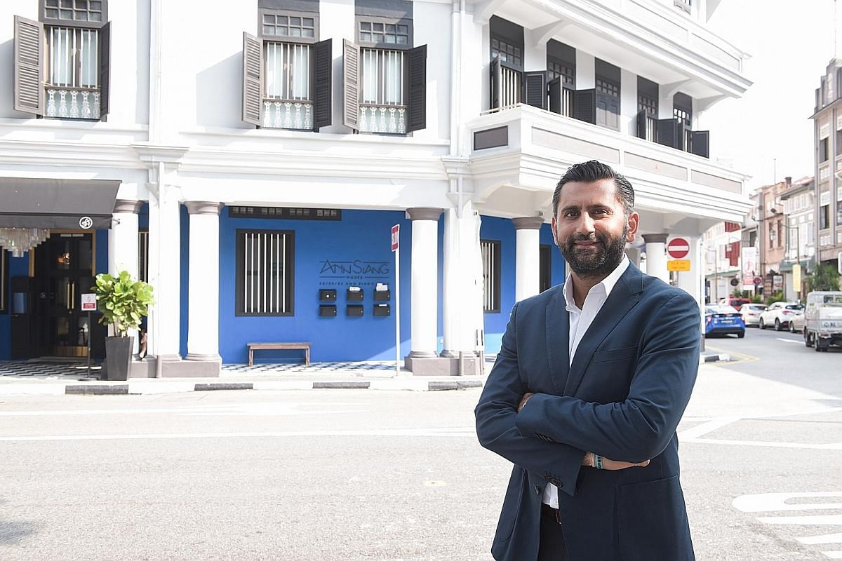 Mr Ashish Manchharam at his restored property - boutique hotel Ann Siang House, which opened in March and whose chic interiors combine modern furnishings with heritage architecture.