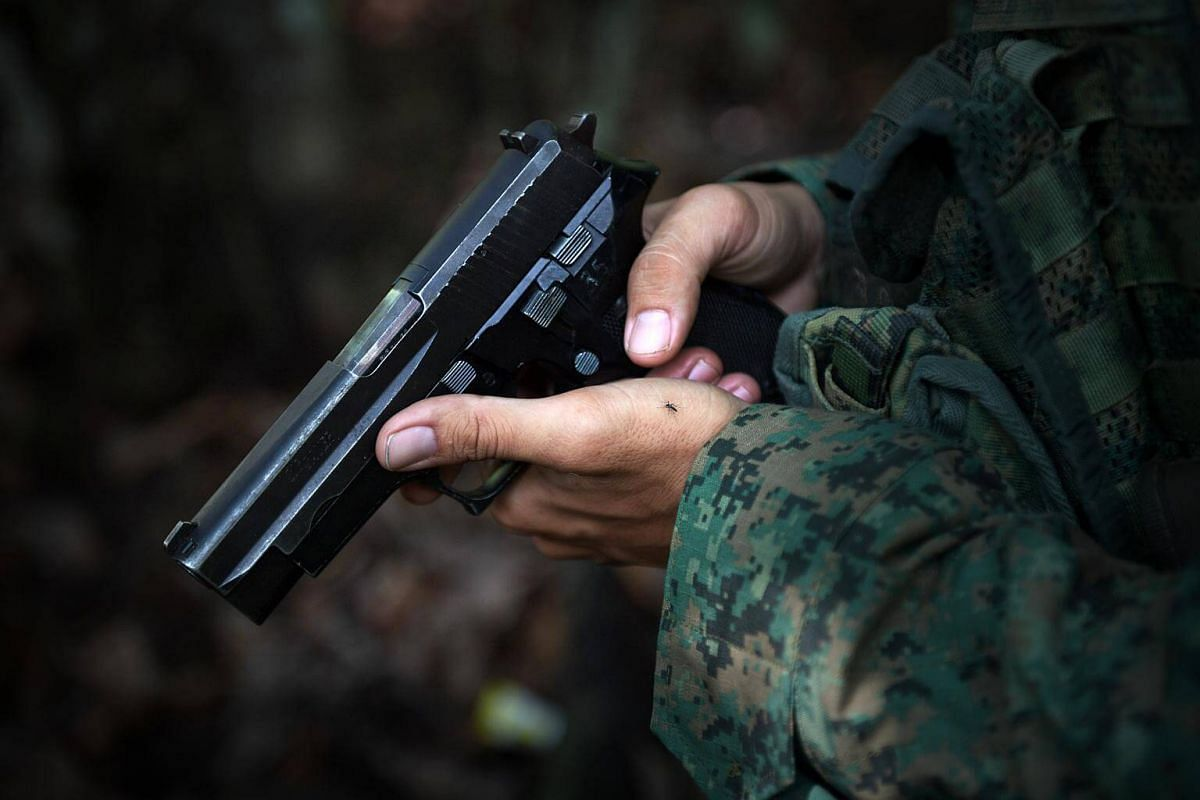 The advanced sniper's personal sidearm is the SIG Sauer P226 pistol. Chambered for the ubiquitous 9x19mm Parabellum round, this weapon is used for self defence and for clearing a building before occupying it.