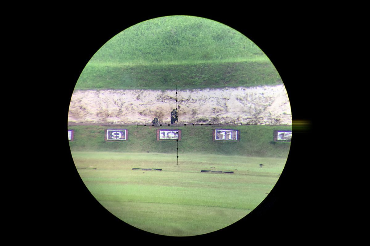 As part of the advanced course, snipers training at the Nee Soon 500m range have to shoot multiple targets. Each target stays up just four seconds, in which time the sniper has to aim, fire, reload and fire again.