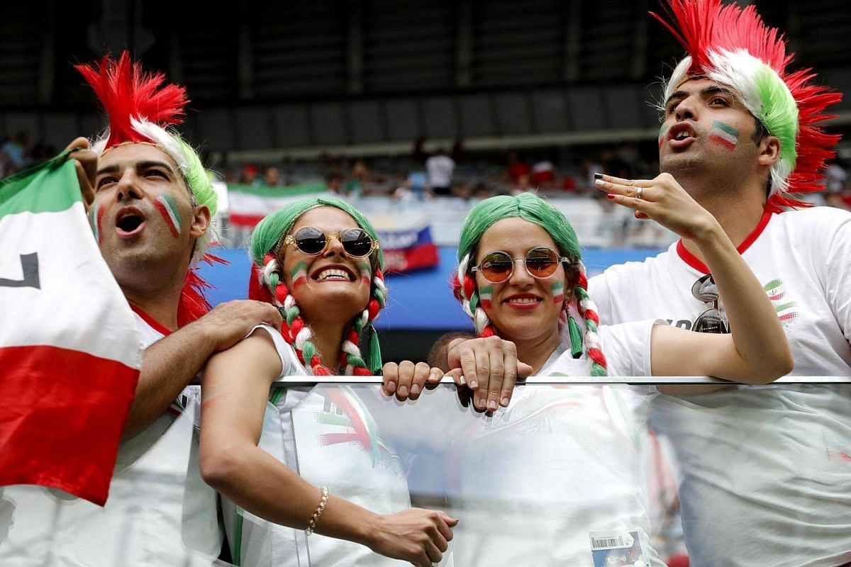 Iran supporters cheering before the Russia 2018 World Cup Group B preliminary football match between Morocco and Iran commences in St.Petersburg, Russia, on June 15, 2018.