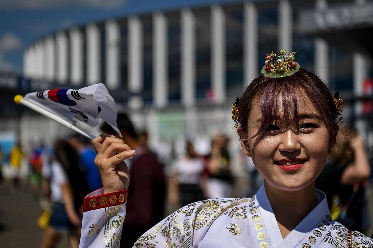 A South Korean fan outside the Nizhny Novgorod Stadium where the Russia 2018 World Cup Group F football match between Sweden and South Korea was held, on June 18, 2018.