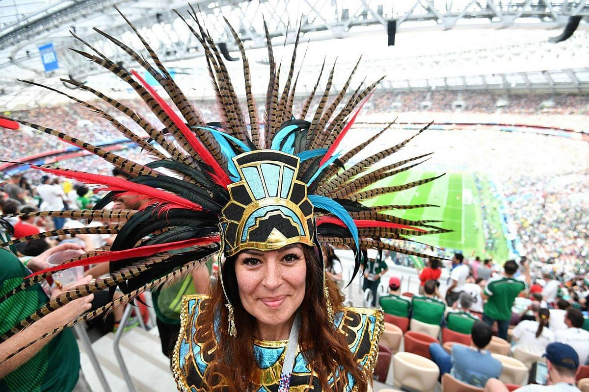 A Mexico fan poses before the Russia 2018 World Cup Group F football match between Germany and Mexico commences at the Luzhniki Stadium in Moscow, on June 17, 2018.