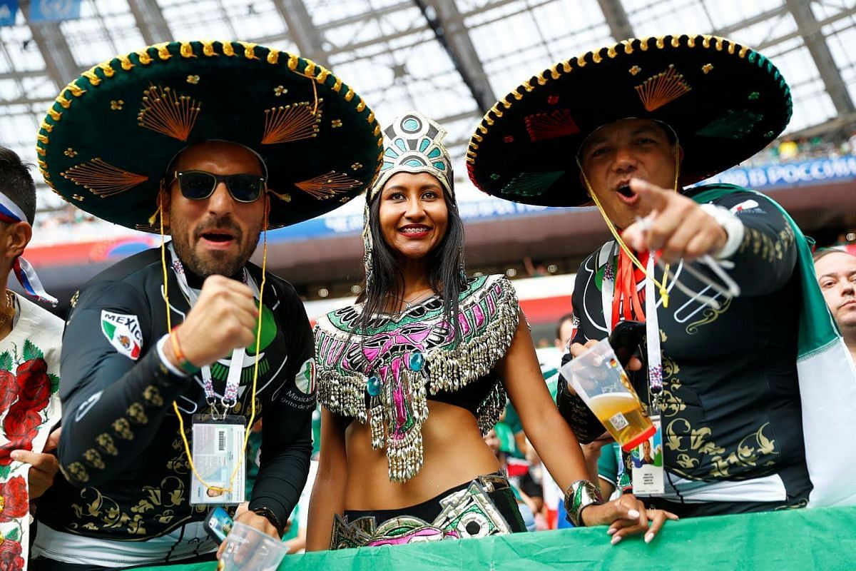 Mexico fans posing for the camera before the Russia 2018 World Cup Group F football match between Germany and Mexico at the Luzhniki Stadium in Moscow, on June 17, 2018.