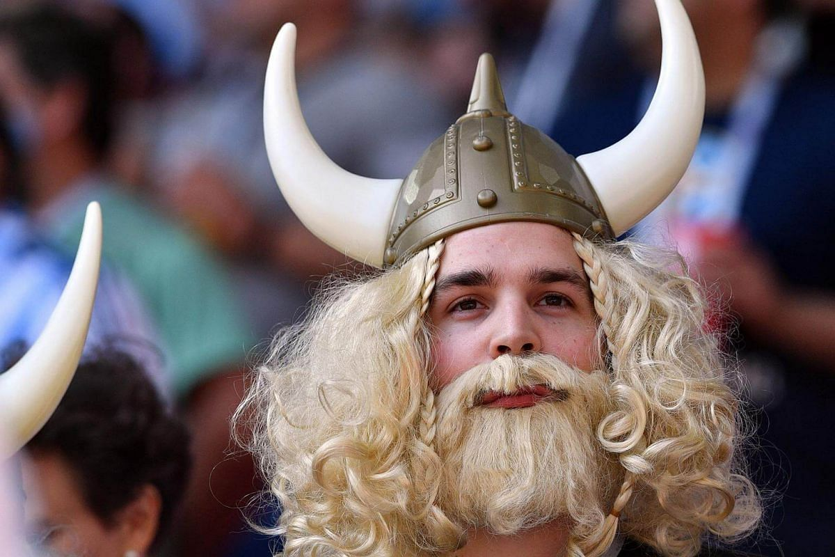 A fan wearing a Viking helmet in support of Iceland waits for the start of the Russia 2018 World Cup Group D football match between Argentina and Iceland at the Spartak Stadium in Moscow, on June 16, 2018.
