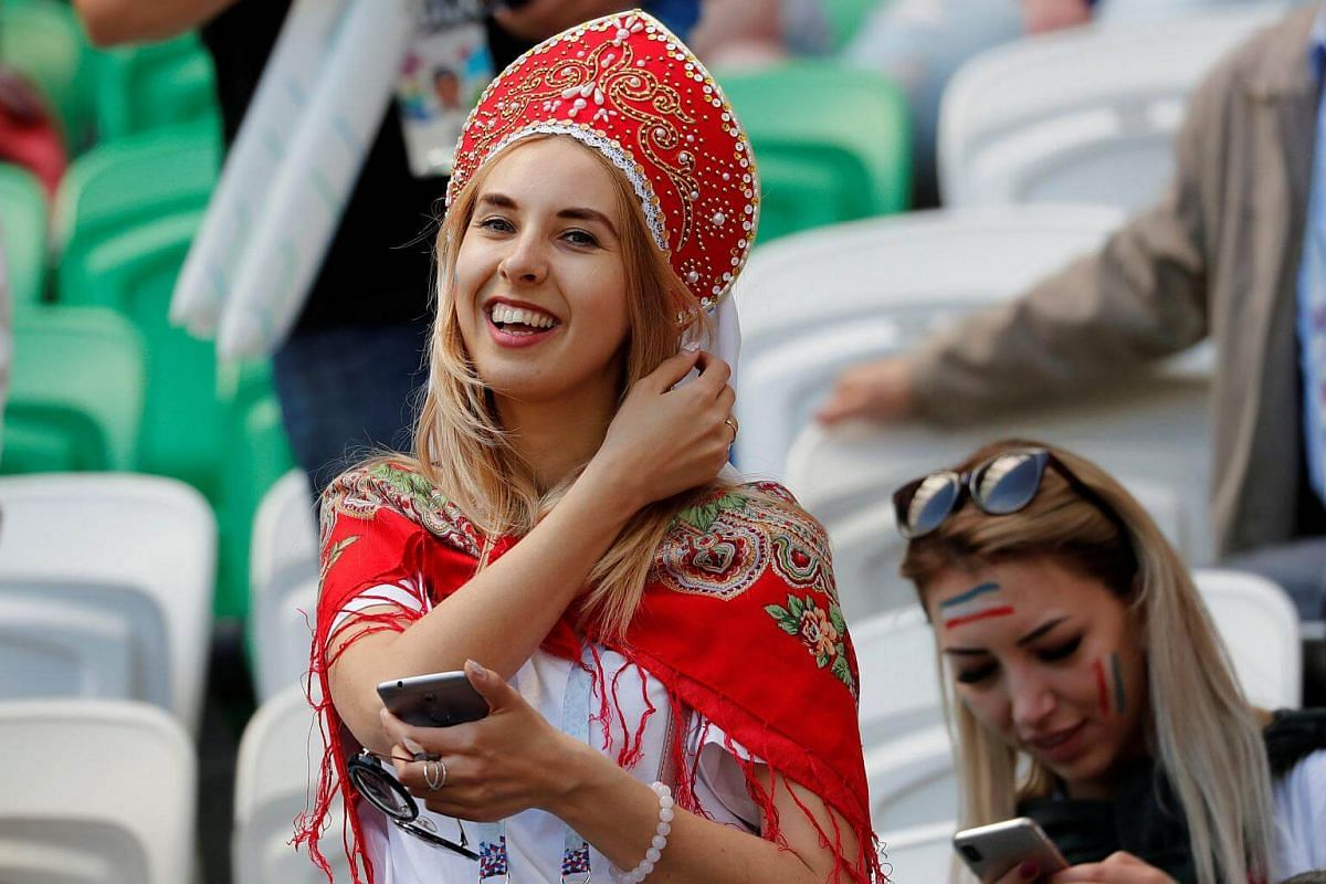 A spectator at the Kazan Arena donning a traditional Russian headdress before the match between France and Australia commences in Kazan, Russia, on June 16, 2018.