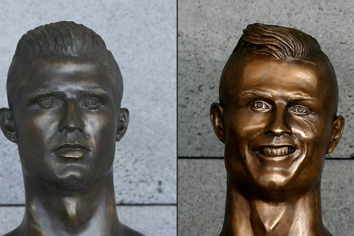 This combination of pictures created on June 18, 2018 shows a new bust representing Portuguese footballer Cristiano Ronaldo (left) pictured at Cristiano Ronaldo International Airport in Funchal, on Madeira island, and the old bust representing Portug