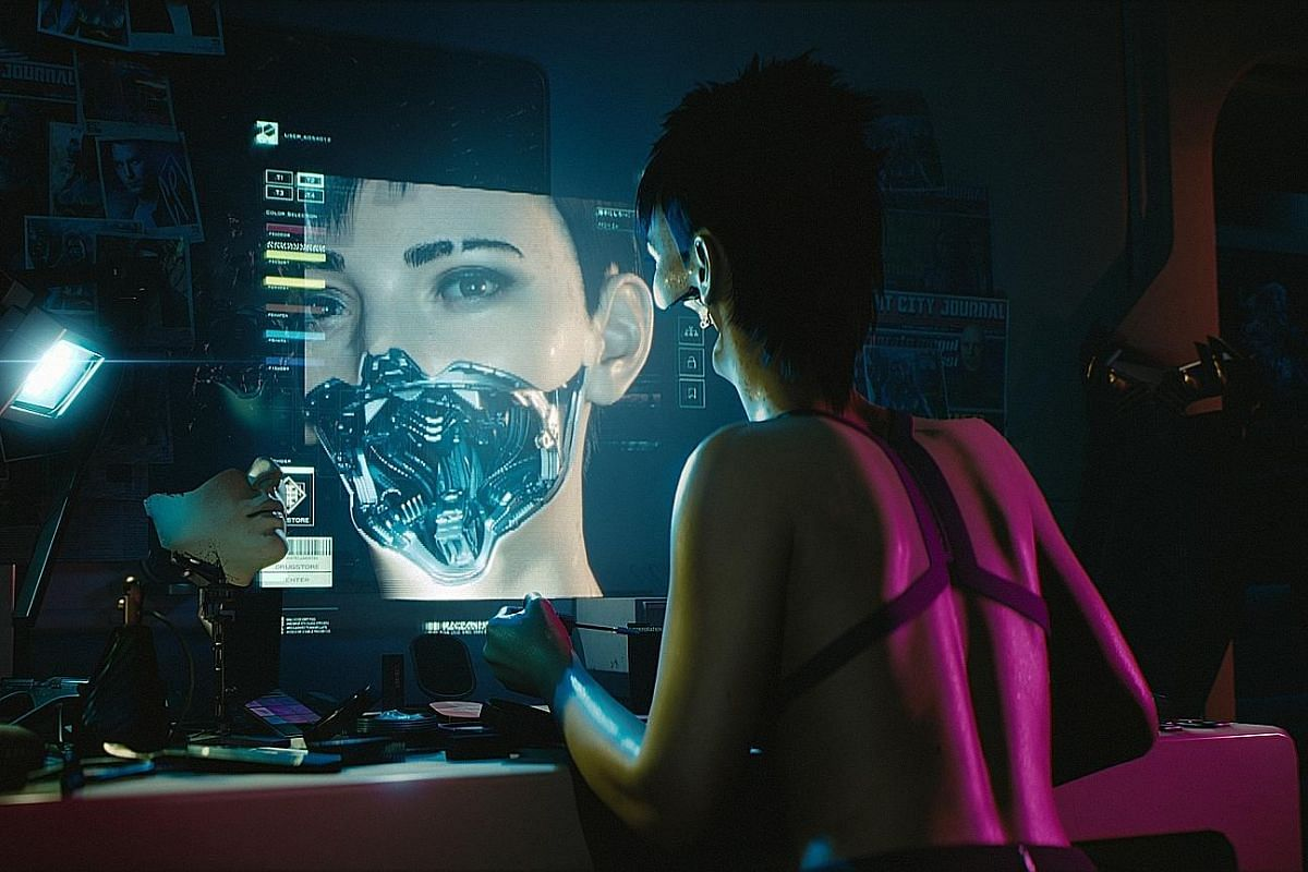 Customise your own character in role-playing game Cyberpunk 2077, which brings to mind science-fiction movies.