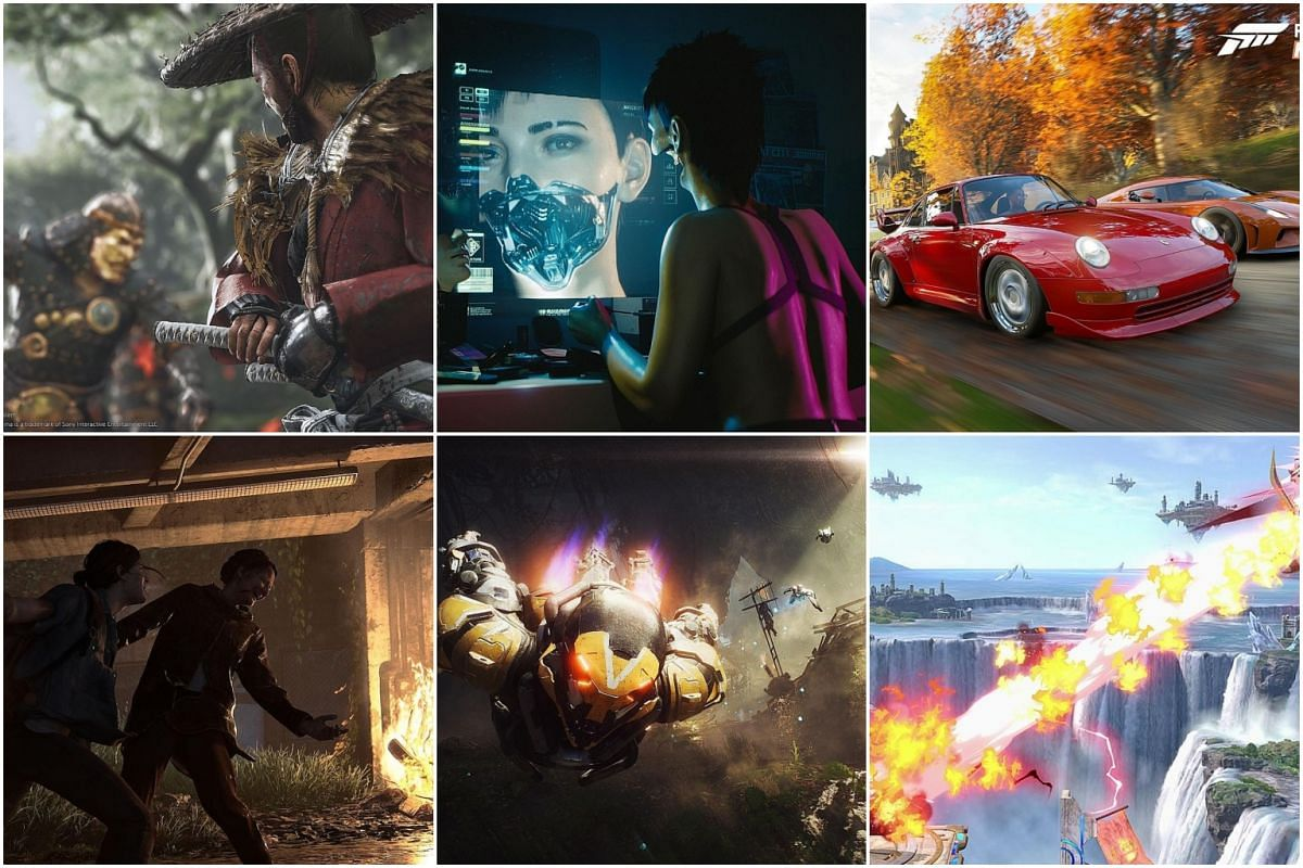 Six games that dazzled The Straits Times (clockwise from top left): Ghost of Tsushima, Cyberpunk 2077, Forza Horizon 4, Super Smash Bros Ultimate, Anthem and The Last Of Us Part II.