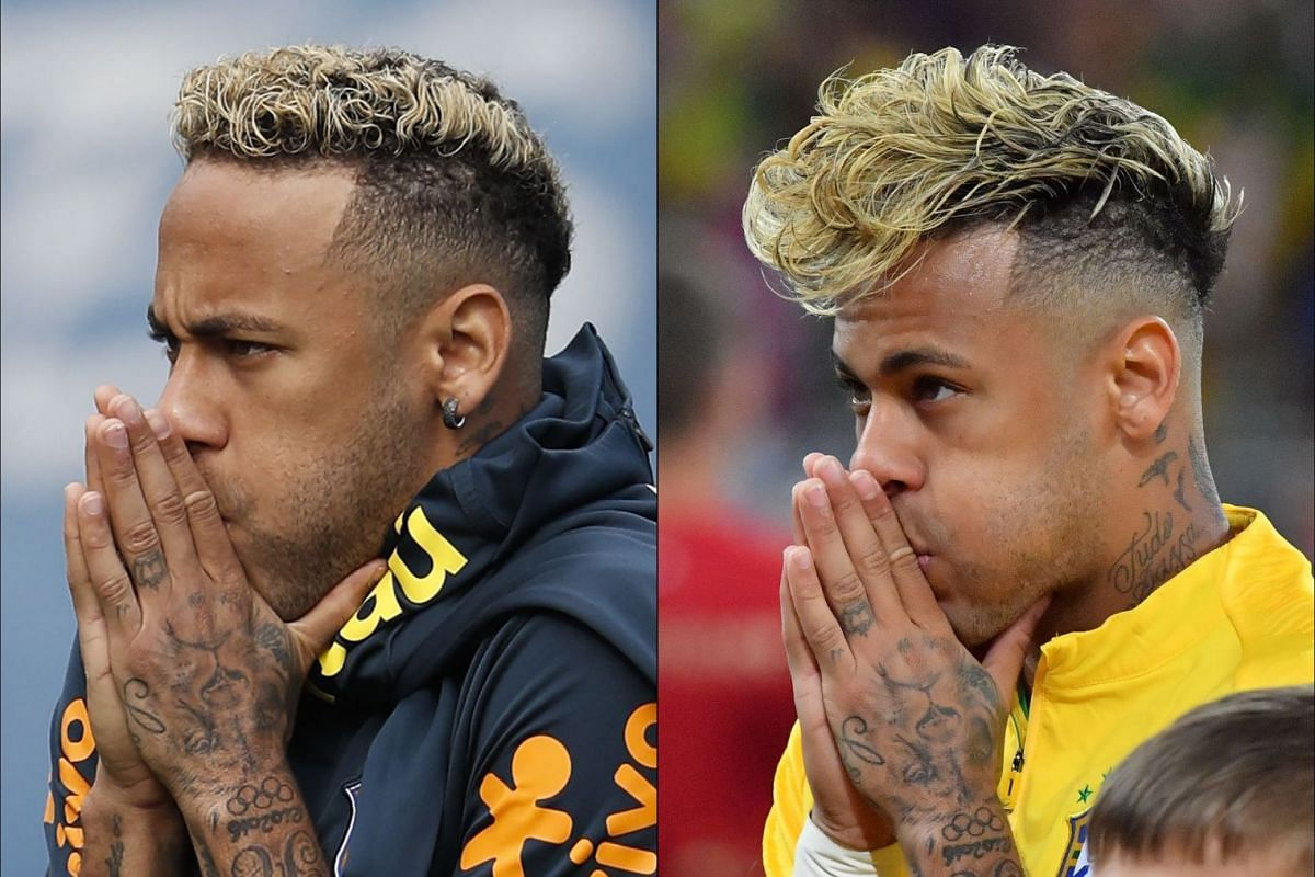 This combination of pictures created on June 20, 2018, shows the haircuts of Brazil's forward Neymar, taken on June 19, 2018 in Sochi (left), and taken on June 17, 2018 in Rostov-On-Don (right) ahead and during the Russia 2018 World Cup football tour