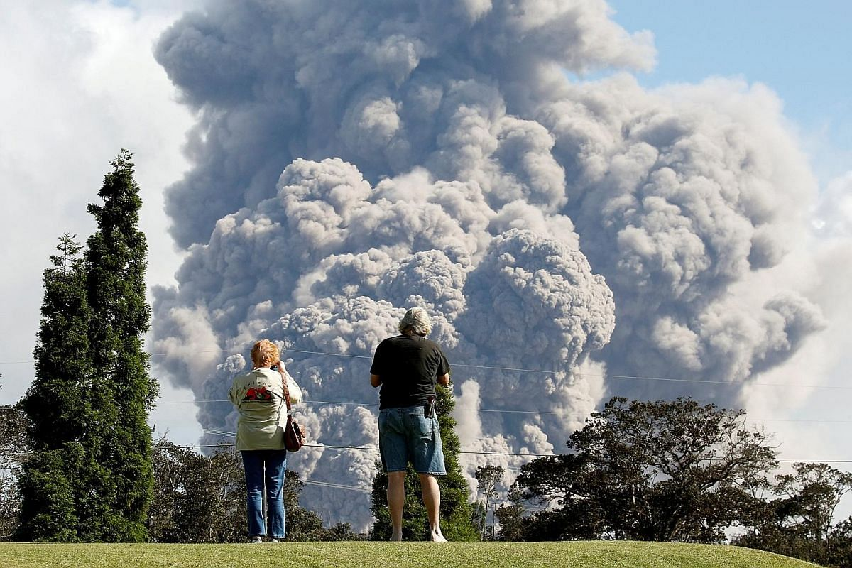 Ash rising to the skies from the Halemaumau Crater during the eruption of the Kilauea Volcano in Hawaii.