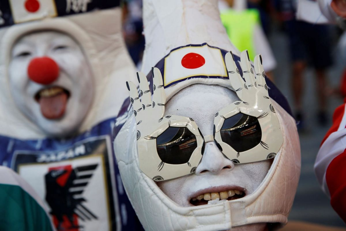A Japan fan before the FIFA World Cup 2018 Group H football match between Japan and Senegal at the Ekaterinburg Arena in Yekaterinburg, Russia, on June 24, 2018.
