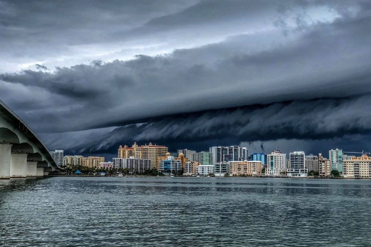 A storm approaches the city of Sarasota in Florida, US, on June 24, 2018.