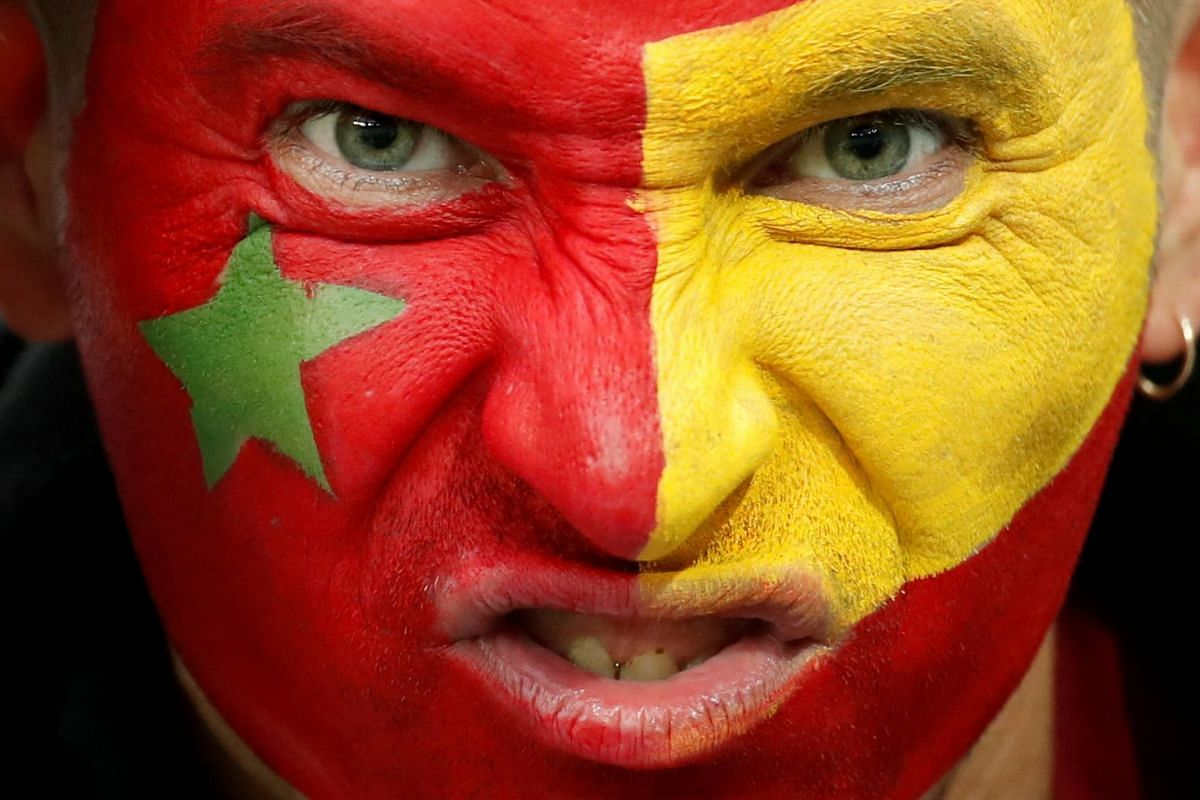A fan with facepaint at the Kaliningrad Stadium before the Russia World Cup 2018 Group B football match between Spain and Morocco, on June 25, 2018.