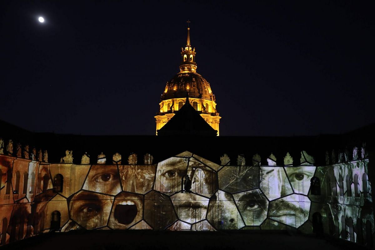 A light projection illuminating the facade of the Hotel des Invalides in Paris during The Rise Of A New World show, on June 25, 2018.