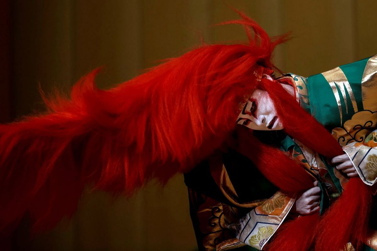 One of the actors of the Heisei Nakamuraza Japanese kabuki theatre company performing on stage during a rehearsal of the play Fuji Musume/Rejinshi at the Canal Theater in Madrid, Spain, on June 26, 2018. The company will perform in Spain for the firs