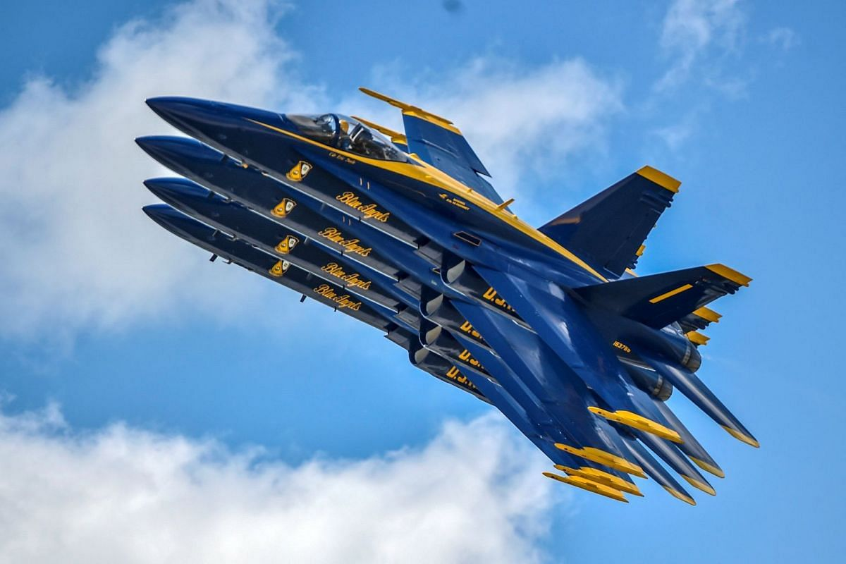 The US Navy flight demonstration squadron, the Blue Angels, performing during the Vectren Dayton Air Show in Dayton, Ohio, on June 23, 2018.