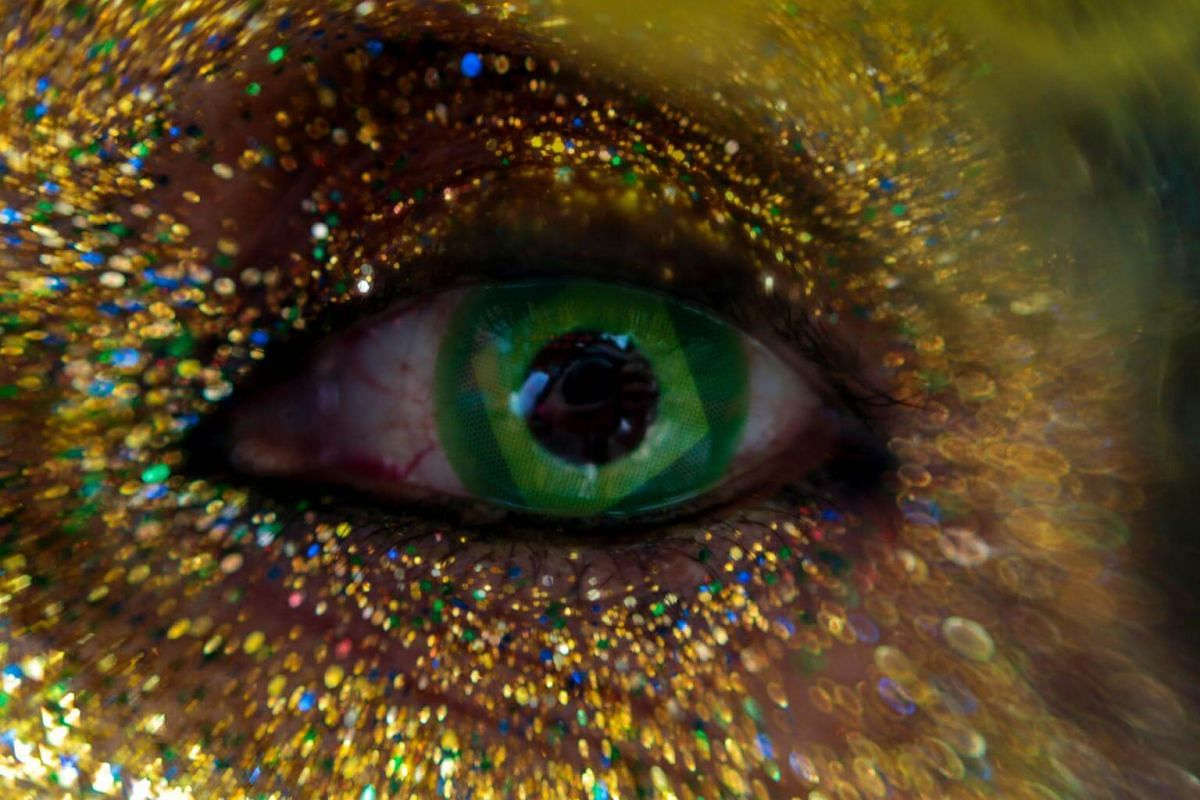 A close up of an eye of a supporter who was watching a broadcast of the 2018 FIFA World Cup Group E match between Brazil and Serbia, in Sao Paulo, Brazil, on June 27, 2018.