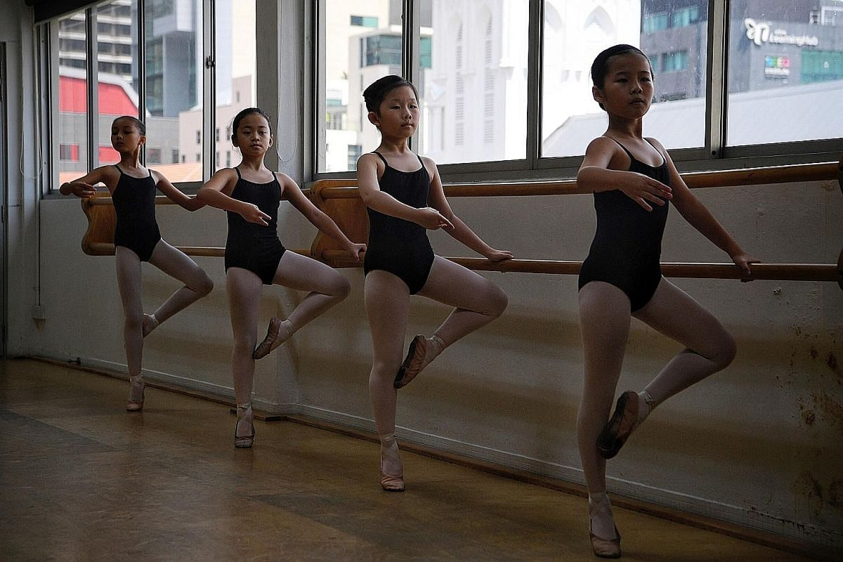 Students during a lesson at the Singapore Ballet Academy, the country's oldest ballet school.