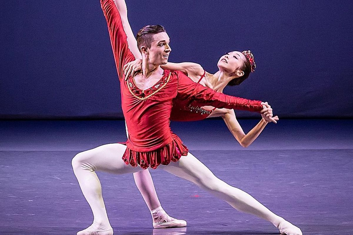 Singapore Dance Theatre dancers Etienne Ferrere and Chihiro Uchida during a performance of Rubies by George Balanchine at Ballet Under the Stars in 2015.