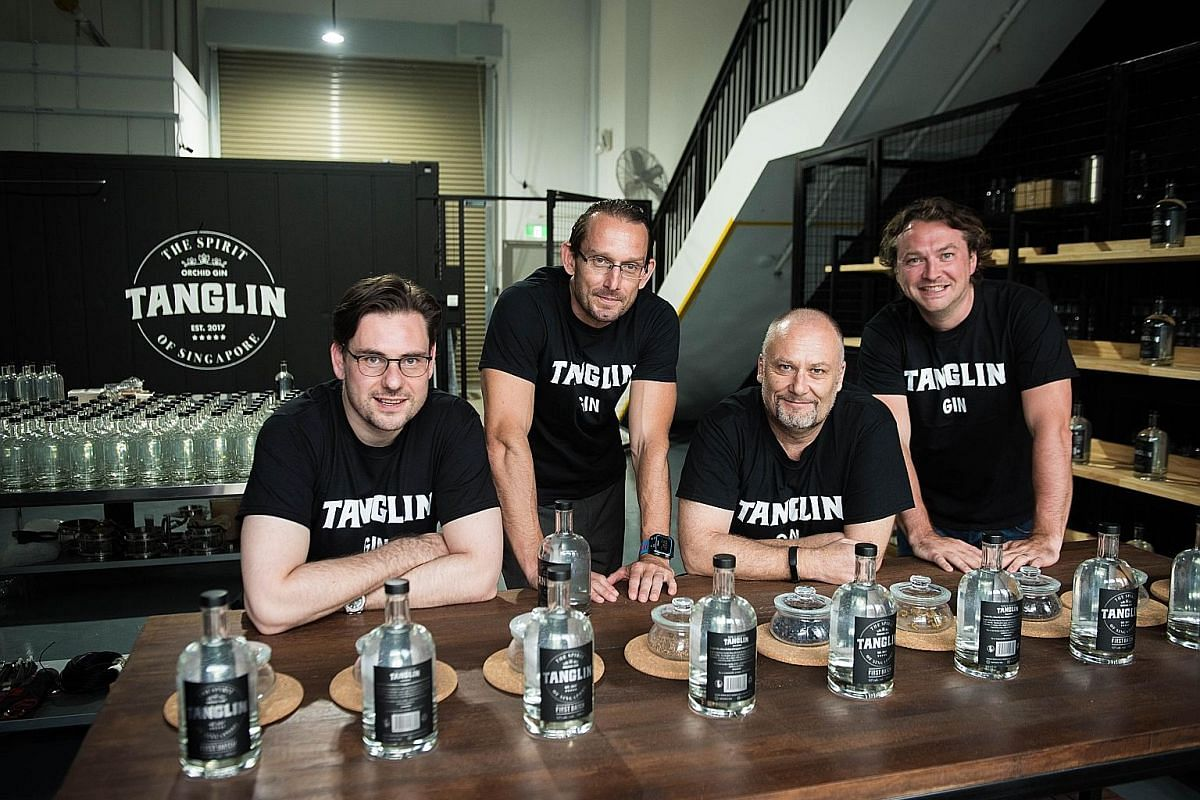 The team behind Singapore's first locally made gin, Tanglin Gin, (from left) Mr Andy Hodgson, Mr Chris Box, Mr Tim Whitefield and Mr Charlie van Eeden at their distillery at Mandai Foodlink.