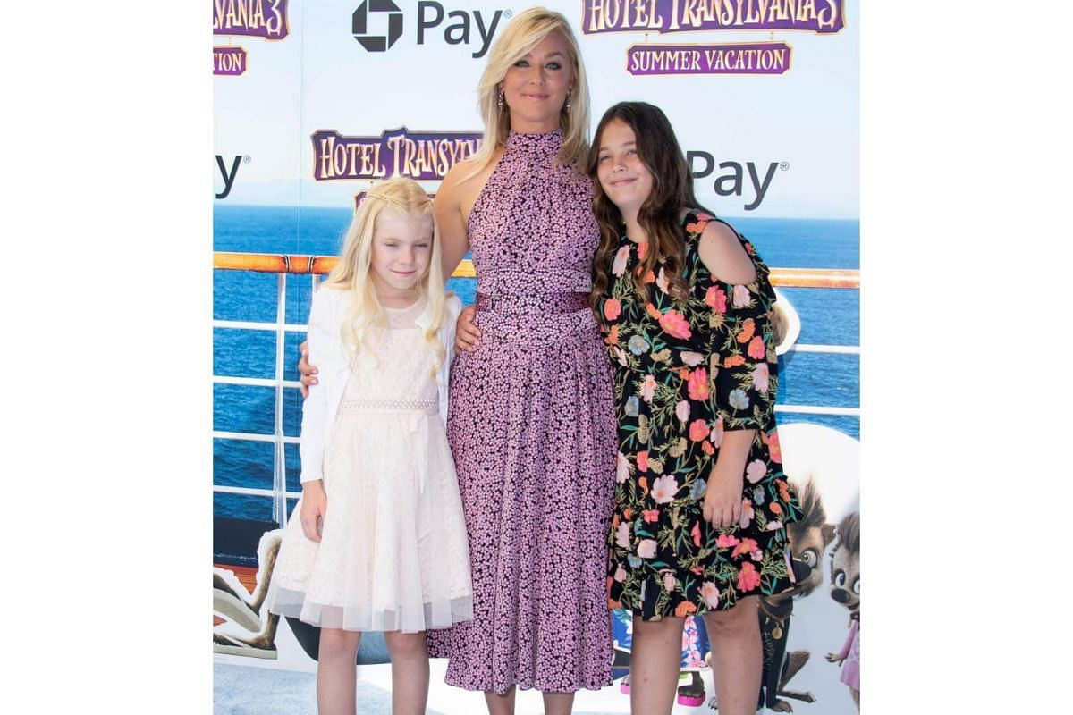 Elisabeth Rohm and family attend the world premiere of Hotel Transylvania 3: Summer Vacation on June 30, 2018.