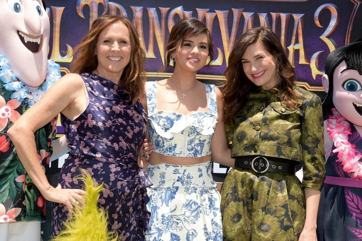 (From left) Molly Shannon, Selena Gomez, and Kathryn Hahn attend the world premiere of Hotel Transylvania 3: Summer Vacation at Regency Village Theatre in Westwood, on June 30, 2018.