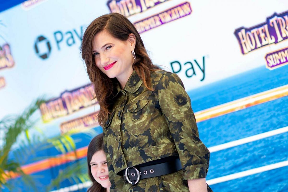 Kathryn Hahn attends the world premiere of Hotel Transylvania 3: Summer Vacation on June 30, 2018.